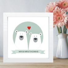 Polar Bear Couple in Box Frame - Choice of Colour - Ideal Wedding or 1st Anniversary Gift